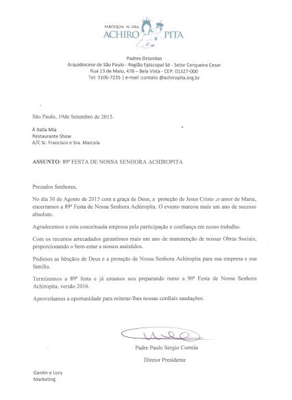 carta igreja nossa senhora achiropita